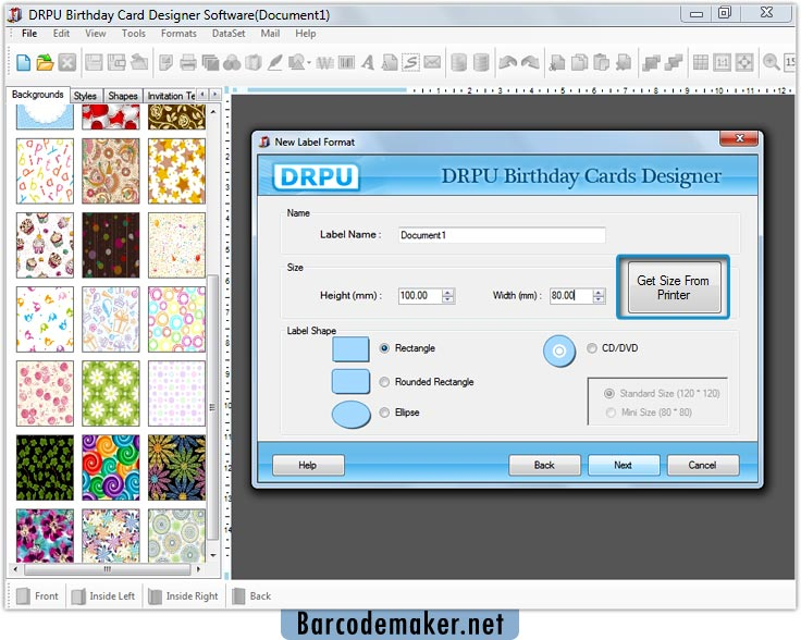 how to set up calling card page to print